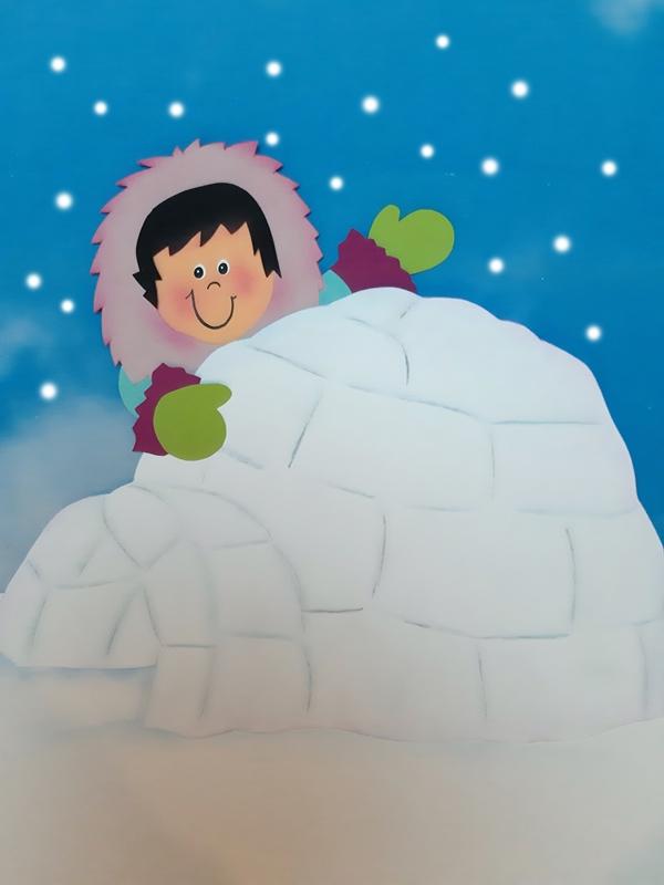 Eskimo aus papier und Iglu