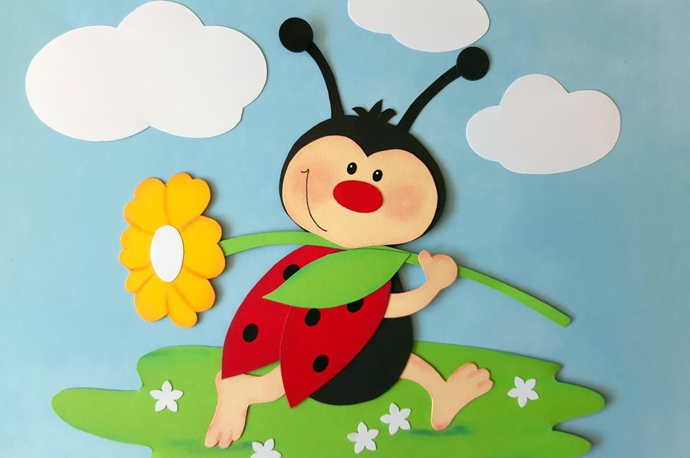 Marienkäfer mit Blume