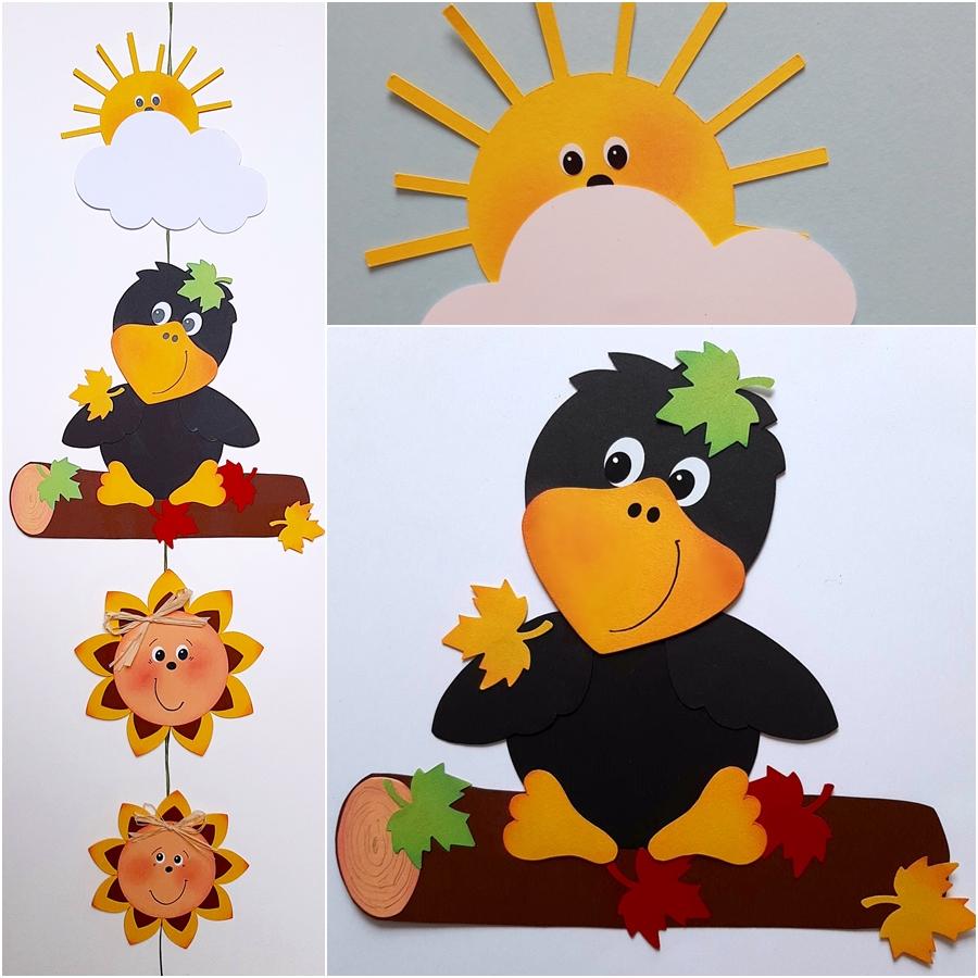 Rabe, Sonnenblumen, Wolke und Sonne