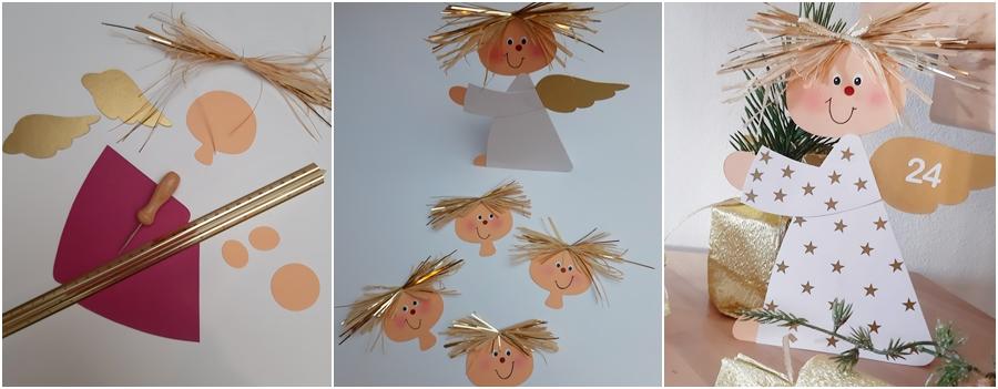 Ein Adventskalender wird mit Engeln aus Papier gebastelt.