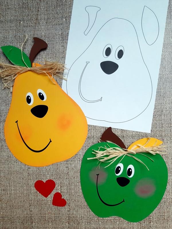 Äpfel und Birnen aus Buntpapier sowie ein Vorlagebogen.