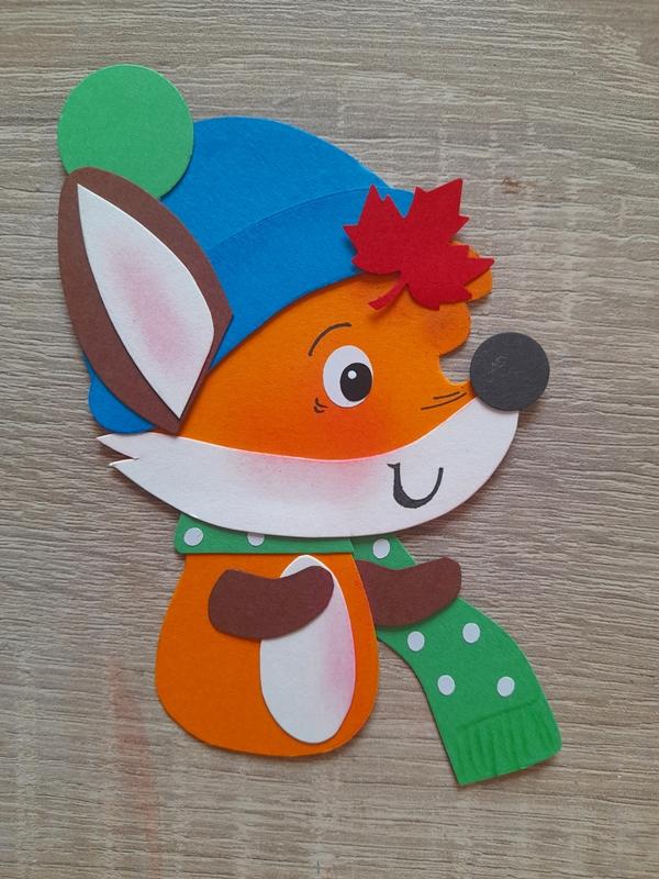 Kleiner Fuchs aus der Bastelpackung fertig zusammengeklebt