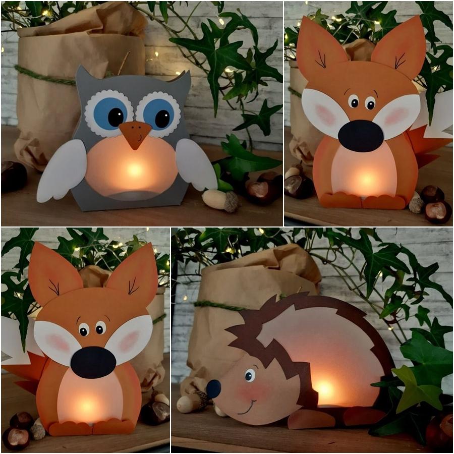 beleuchteter Igel, Fuchs und Eule aus Bastelkarton