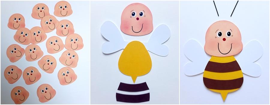 Eine Biene aus Fotokarton wird gebastelt