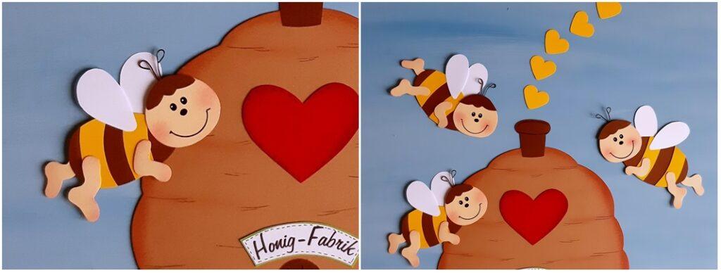 Honig Fabrik aus Papier mit 3 Bienen in der Detailansicht.