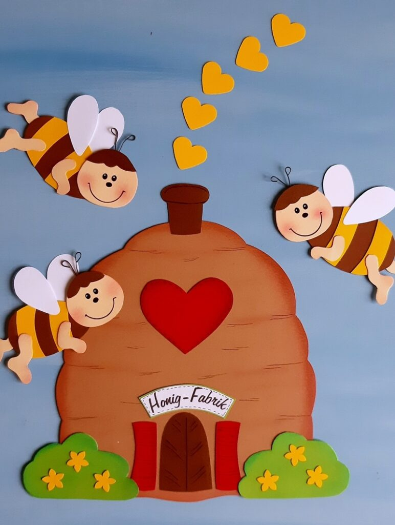 Honig Fabrik aus Papier mit 3 Bienen.