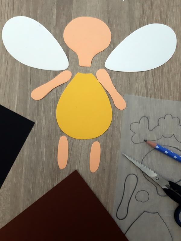 Einzelteile einer Biene aus Papier