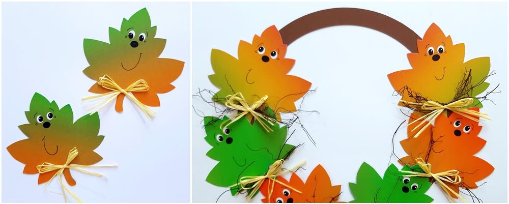 Bastelidee: Bunte Blätter im Kranz