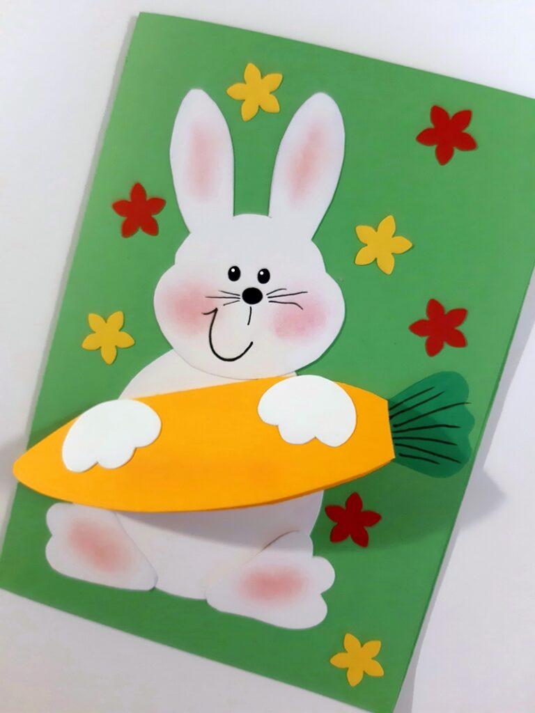 Grußkarte mit einem Osterhasen.