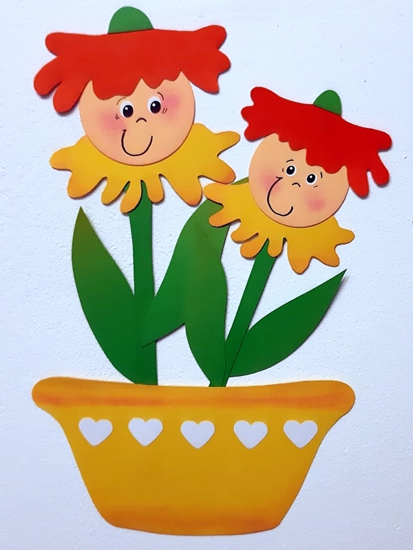 Blütenkinder als Fensterbild