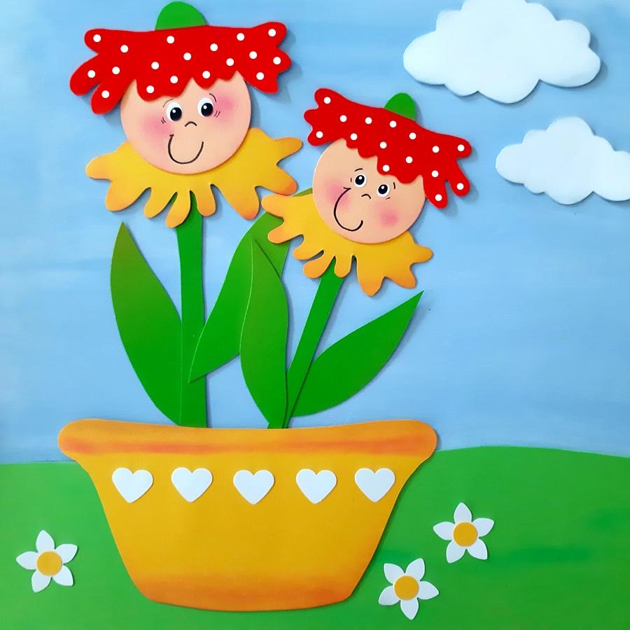 Fensterbild mit bunten Blütenkinder  auf einer Wiese mit blauem Himmel