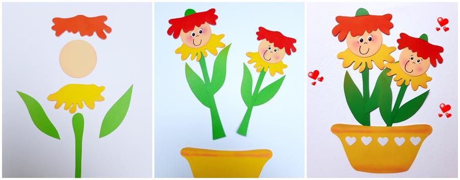 Fensterbild mit bunten Blütenkinder im gelben Blumentopf in 3 Schritten erklärt