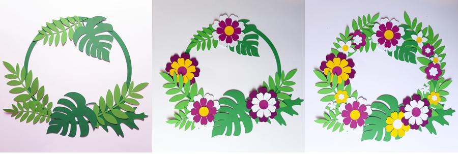 Ein Blütenkranz aus Papier in 3 bebilderten Steps gezeigt