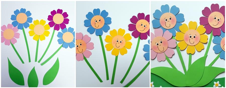 Bunte Blumen aus Bastelpapier in 3 Schritten erklärt