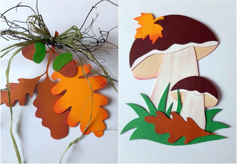 Waldpilze mit Eichenblätter