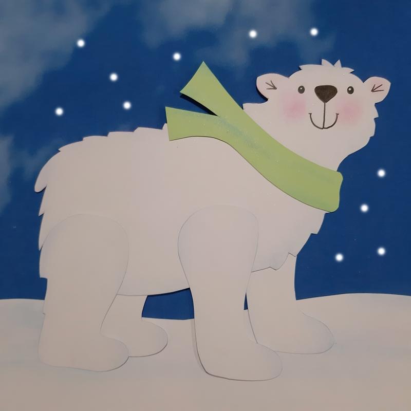 Eisbär in weiß aus Papier.