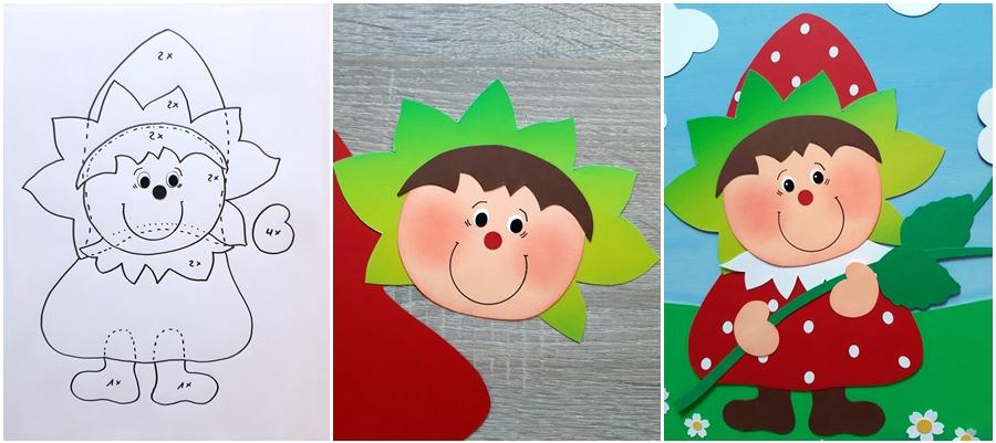 Vorlagebogen von Erdbeeren mit Gesicht und fertiges Fensterbild dieser Erdbeere