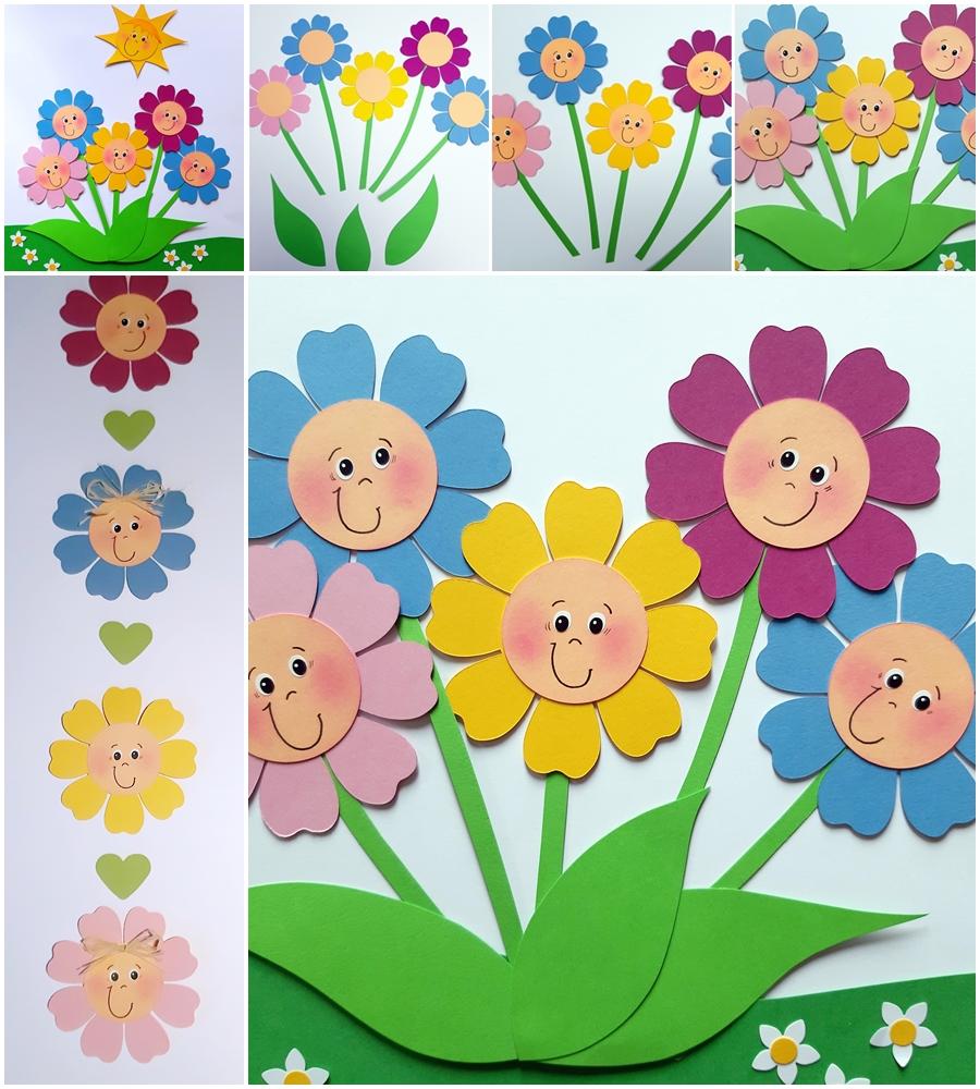 Blumen aus Bastelpapier in bunten Farben