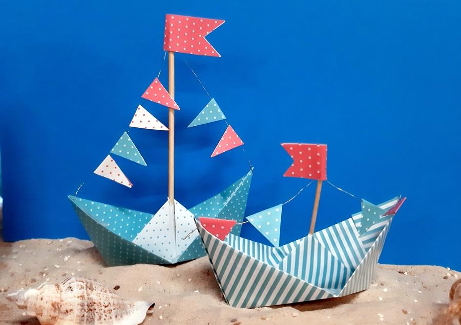 Schiff Ahoi mit Faltpapier