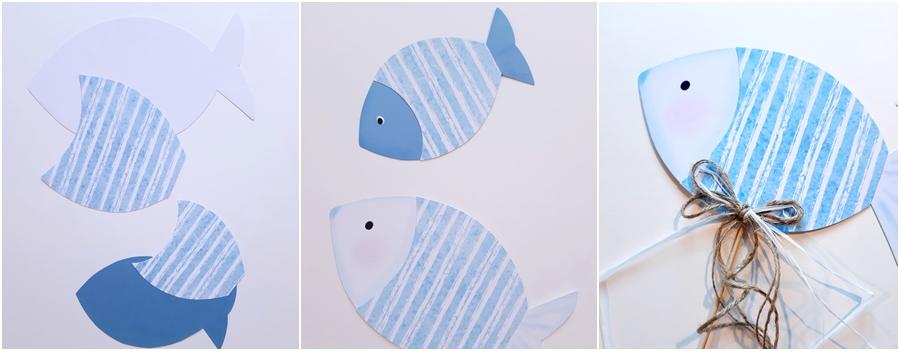 Fische aus Papier in blau und weiß