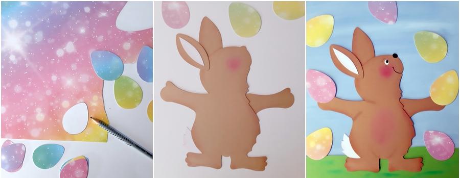 Fensterbild Osterhase beim Jonglieren mit bemalten Eiern in 3 Schritten erklärt