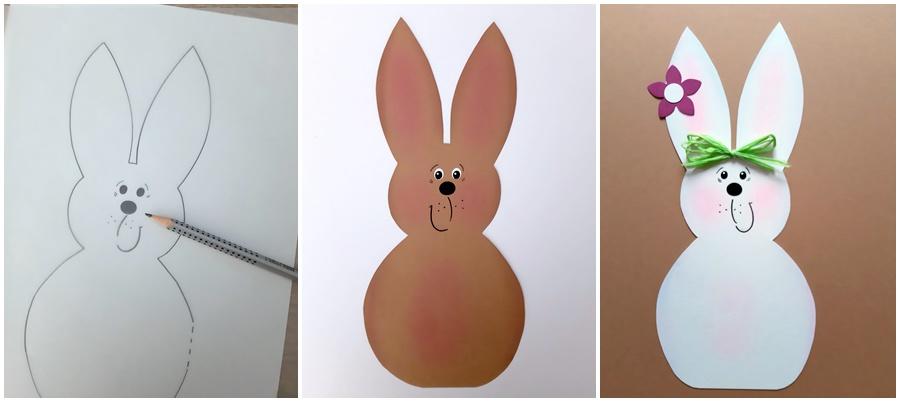Brauner und weißer Hase aus Fotokarton