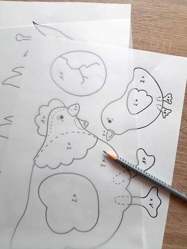 Vorlagebogen von der Henne mit Küken