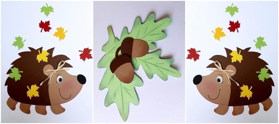 2 Igel aus Bastelpapier mit Eichenblättern und Eicheln
