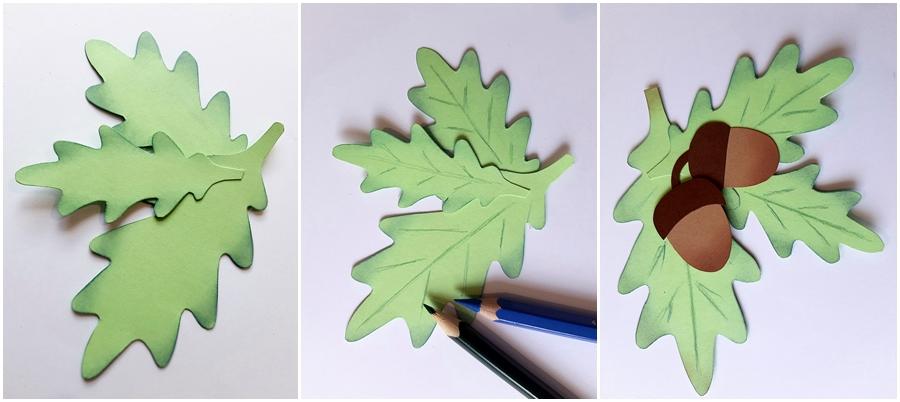 Eichenblätter aus Bastelpapier mit Eicheln