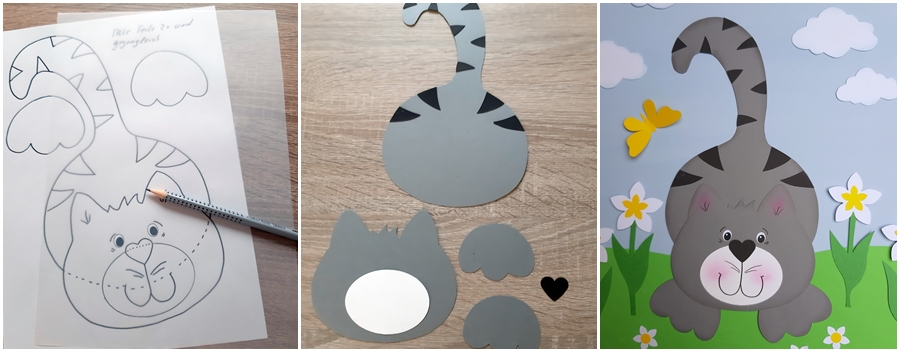 Eine Hauskatze als Fensterbild, in 3 Schritten erklärt