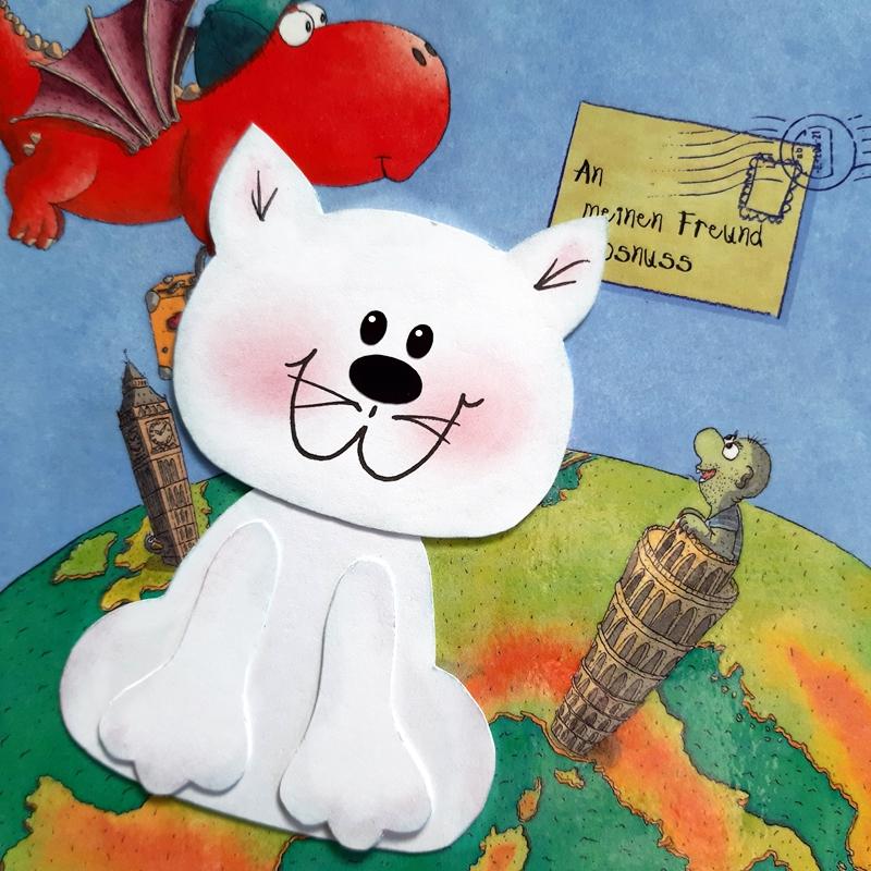 Lesezeichen Katze aus Papier