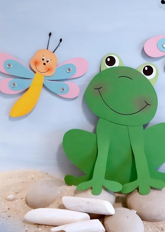 Frosch und Libelle aus Fotokarton