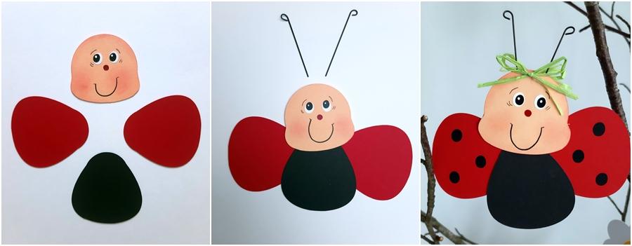 Eine Marienkäfer wird aus Fotokarton gebastelt
