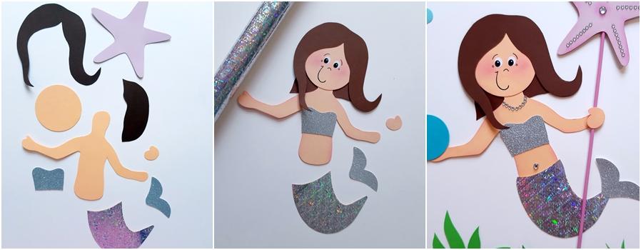 Meerjungfrau aus Papier, Einzelteile und fertiges Motiv
