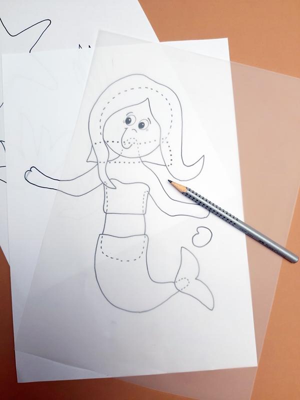 Vorlagebogen einer Meerjungfrau