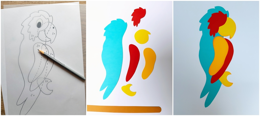 Vorlagebogen vom Papagei und die Einzelteile aus Papier zum Zusammenkleben