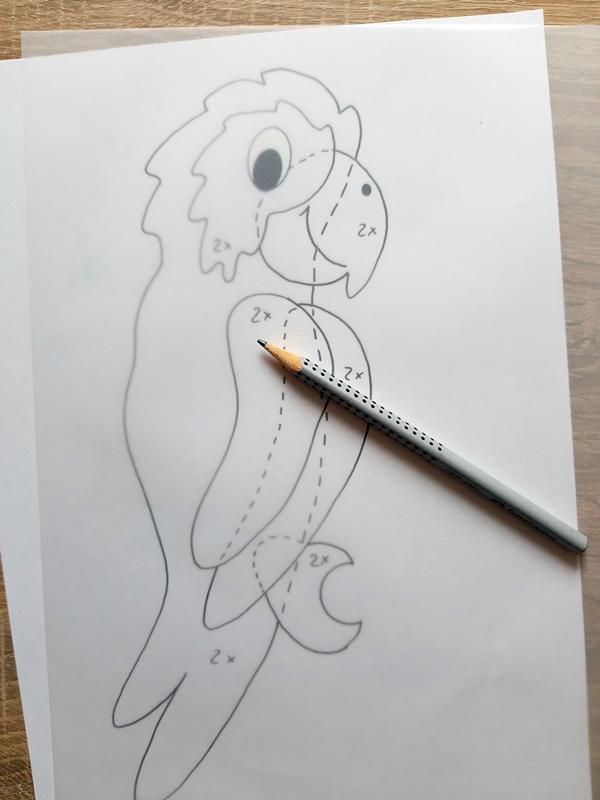 Vorlagebogen vom Papagei