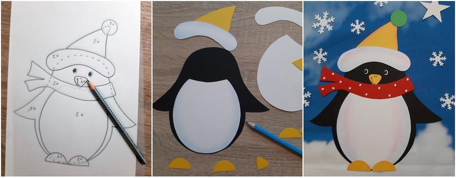 Pinguin aus Papier in 3 Schritten bildlich erklärt.