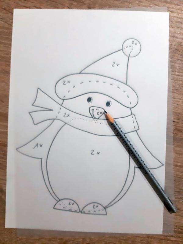 Vorlagebogen vom Pinguin.