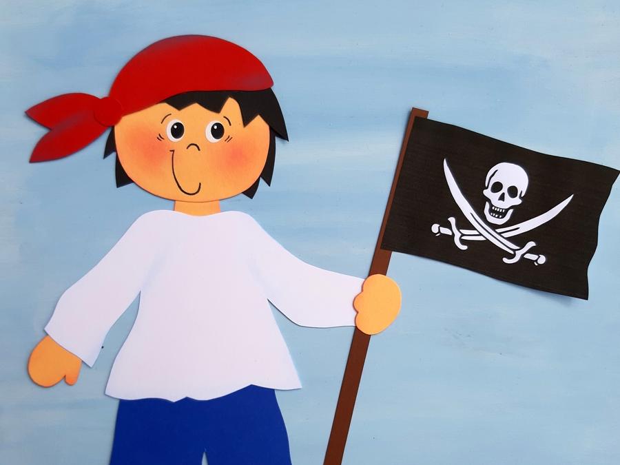 Pirat mit Flagge als Fensterbild