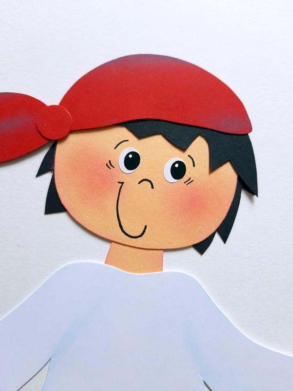 Kopf vom Pirat mit rotem Kopftuch