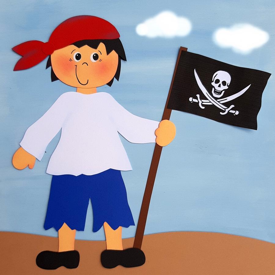 Fensterbild Pirat mit Flagge