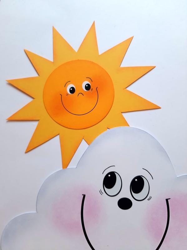 Sonne und Wolke aus Bastelpapier
