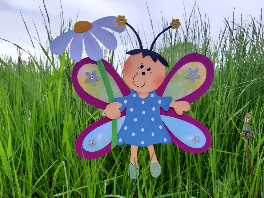 Schmetterlings-Mädchen aus buntem Papier