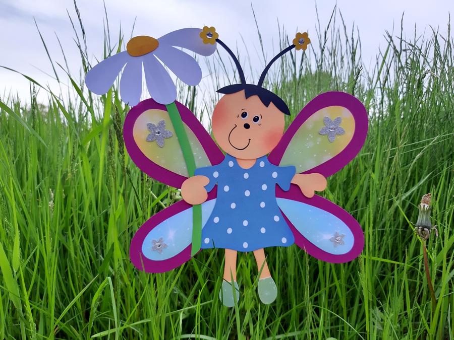Schmetterlings-Mädchen in bunten Farben