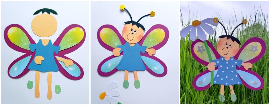 Schmetterlings-Mädchen mit einer Blume in der Hand
