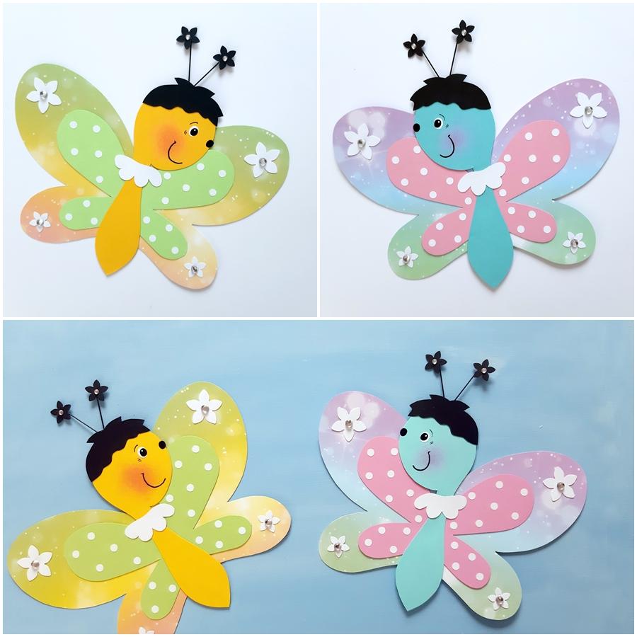 2 Schmetterlings-Pärchen aus Papier