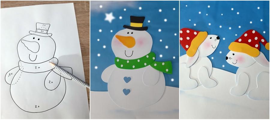 Schneemann und Schneehasen aus Papier