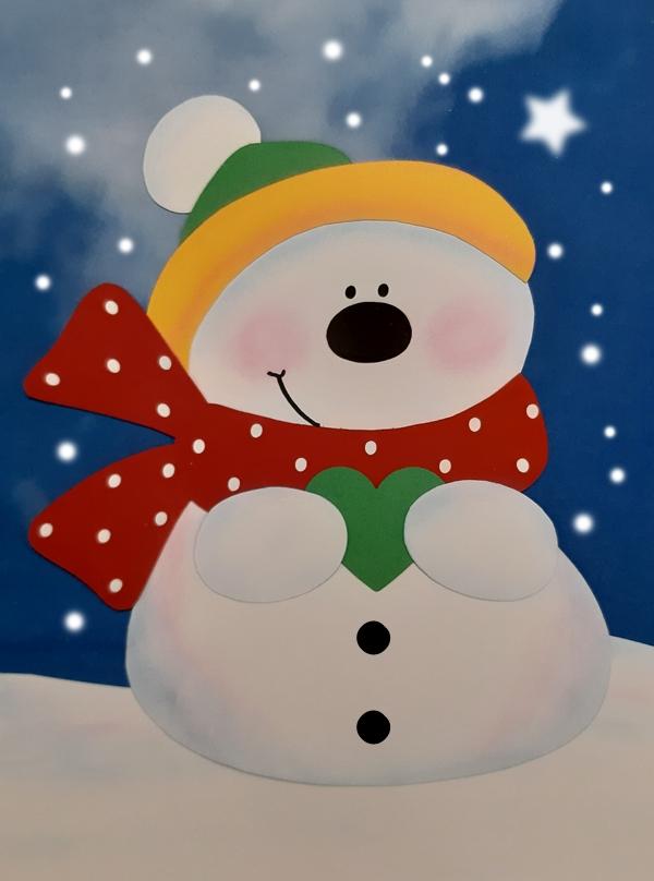 Schneemann im Schneegestöber.