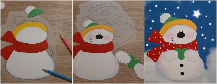 Ein Schneemann wird aus Papier gebastelt.